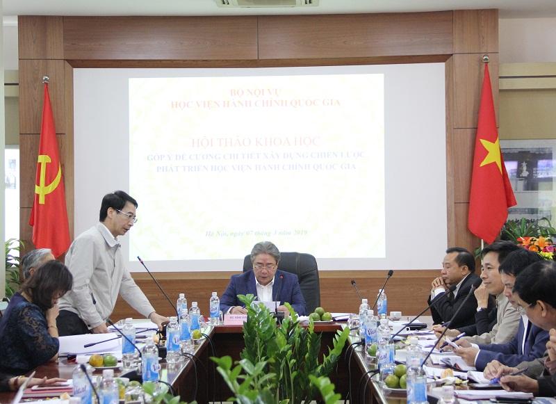 PGS.TS. Lương Thanh Cường – Phó Giám đốc Học viện báo cáo về các nội dung của Dự thảo Chiến lược