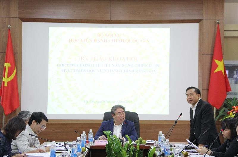 """TS. Nguyễn Đăng Quế - Phó Giám đốc Học viện nhấn mạnh về các """"sản phẩm cốt lõi"""" của Học viện trong Chiến lược"""