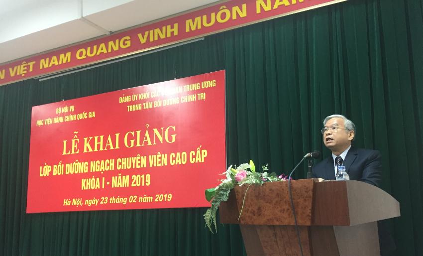 NGƯT.TS Vũ Thanh Xuân - Phó Giám đốc Học viện phát biểu khai giảng