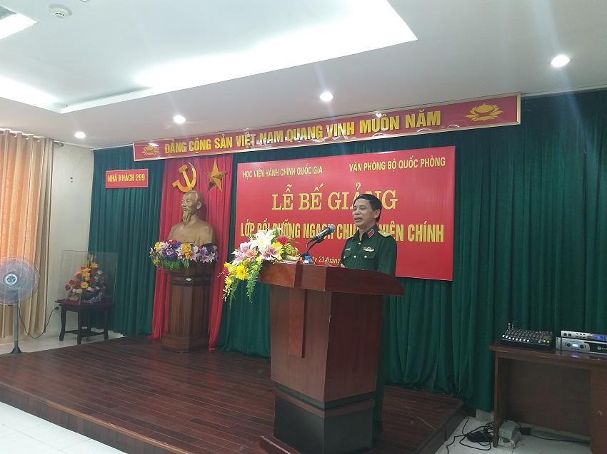 Thiếu tướng Nguyễn Xuân Nghị, Phó Chánh văn phòng Quân ủy Trung ương phát biểu tại buổi Lễ