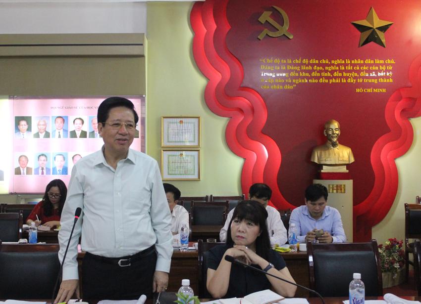 PGS.TS. Nguyễn Trọng Điều - Nguyên Giám đốc Học viện phát biểu ý kiến tại Hội thảo