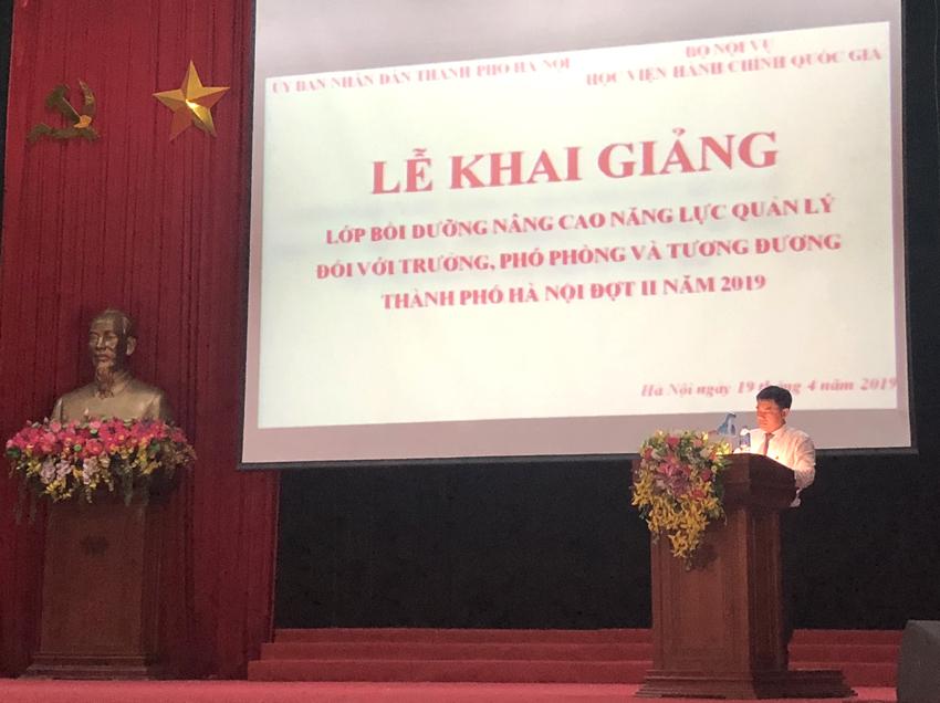 ThS. Tống Đăng Hưng – Phó Trưởng ban, Ban Quản lý bồi dưỡng phát biểu khai - bế giảng