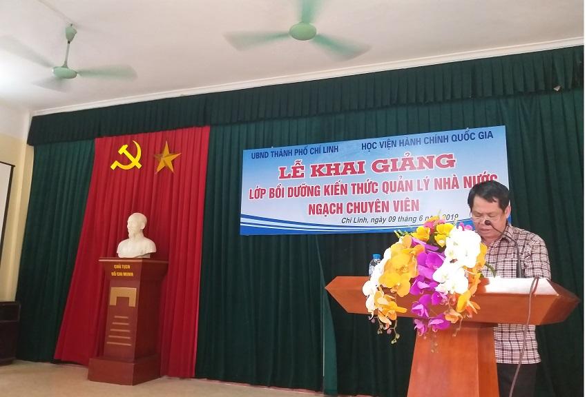 Nguyễn Văn Huỳnh - Phó Chủ tịch UBND TP. Chí Linh phát biểu tại buổi lễ
