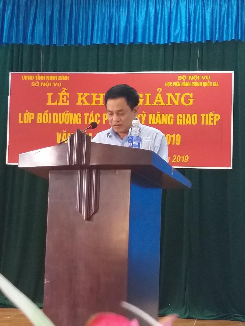 Đồng chí Trần Đức Minh - Phó Giám đốc Sở phát biểu tại buổi lễ