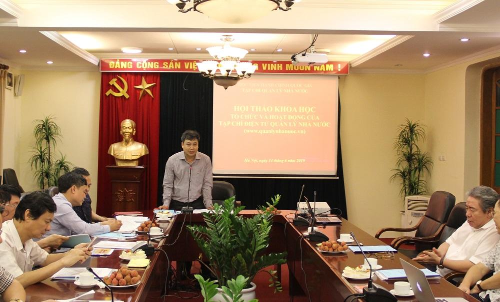 PGS.TS. Đặng Khắc Ánh – Quyền Tổng Biên tập Tạp chí QLNN phát biểu đề dẫn Hội thảo