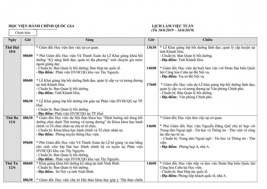 Lịch tuần Học viện từ 10- 16.6-1