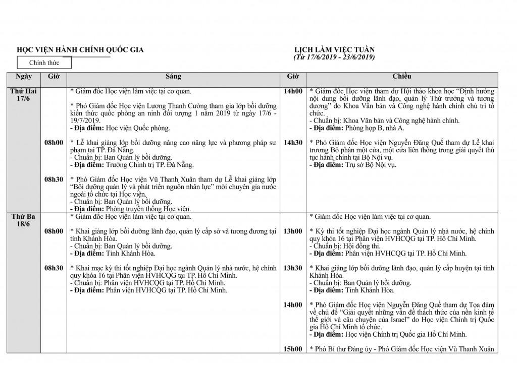 Lịch tuần Học viện từ 17 - 23.6-1
