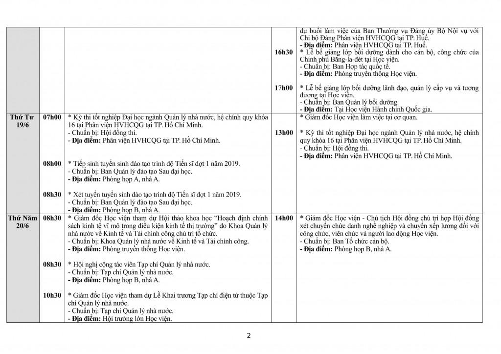 Lịch tuần Học viện từ 17 - 23.6-2