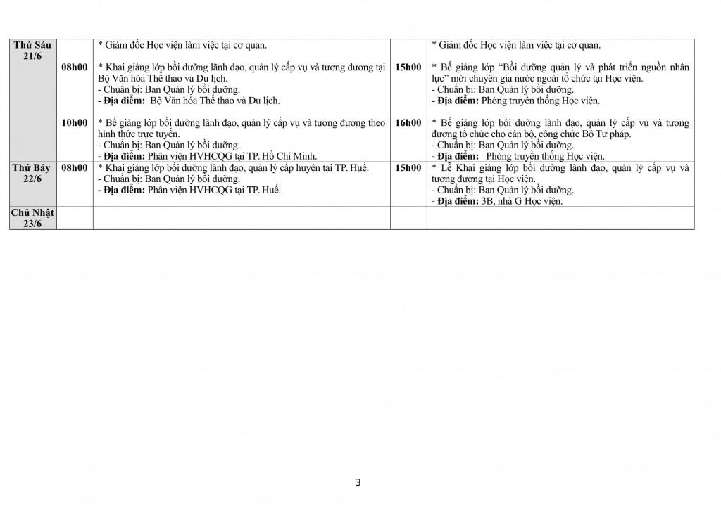 Lịch tuần Học viện từ 17 - 23.6-3