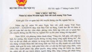 Thu chuc mung ngay 21.6.2019 cua Bo truong BNV