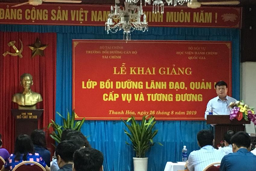 TS. Bùi Huy Tùng, Chánh Văn phòng, phụ trách điều hành Ban Quản lý bồi dưỡng phát biểu khai giảng khóa học