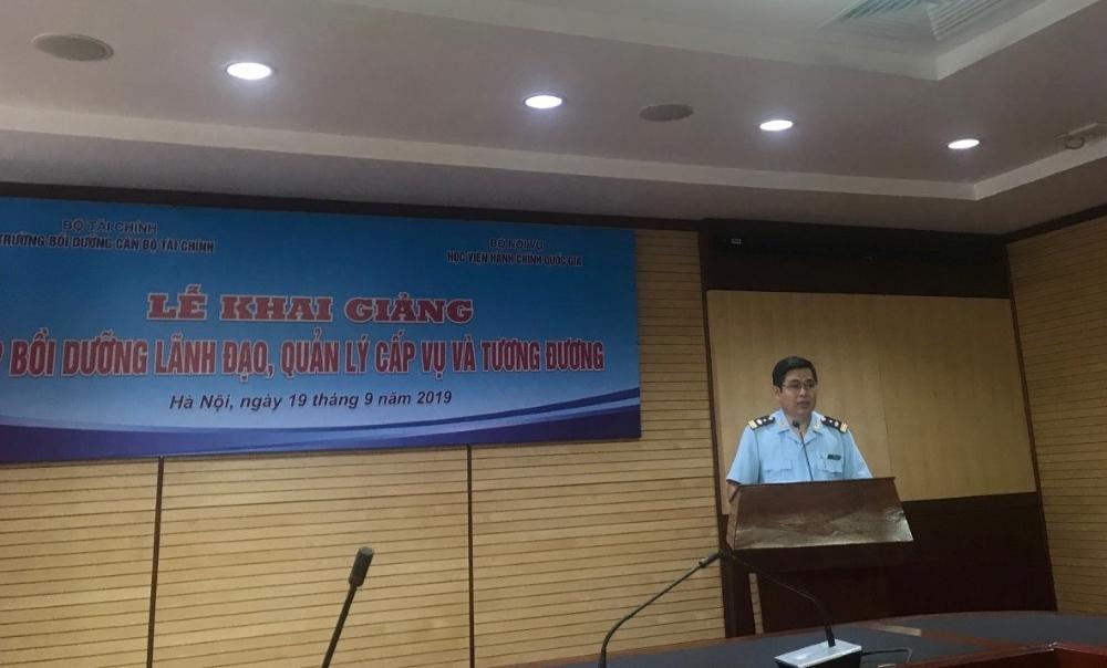 Ông Bùi Ngọc Lợi - Phó Vụ trưởng Vụ Tổ chức cán bộ, Tổng cục Hải quan phát biểu tại buổi lễ