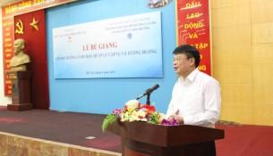 TS. Bùi Huy Tùng – Chánh Văn phòng, Phụ trách điều hành ban, Ban Quản lý bồi dưỡng, Học viện Hành chính Quốc gia  phát biểu tại buổi lễ Bế giảng