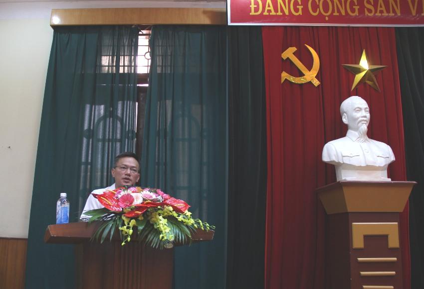 Đồng chí Nguyễn Hải Cường - Phó vụ trưởng, Tổng cục giáo dục nghề nghiệp Bộ LĐTB&XH đại diện cho các học viên của lớp phát biểu