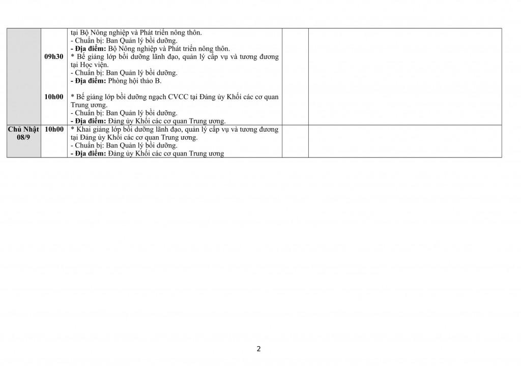 Lịch tuần Học viện từ 02.9 - 08.9-2