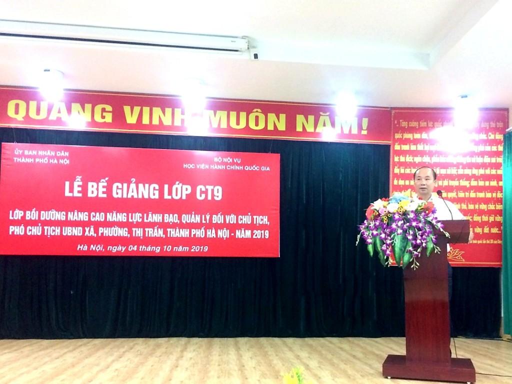 đồng chí Nguyễn Đình Hoa, Phó Giám đốc Sở Nội vụ Hà Nội phát biểu tại buổi Lễ