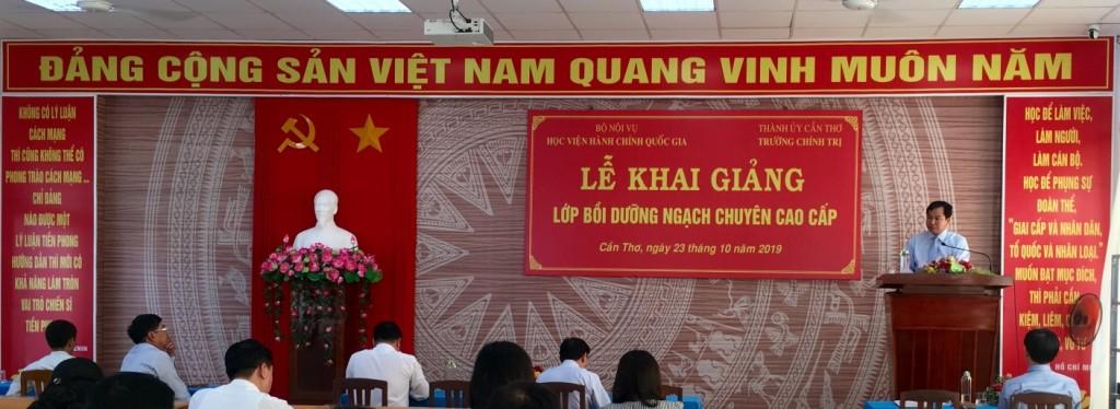 Đồng chí Lê Quang Mạnh, Chủ tịch UBND thành phố Cần Thơ phát biểu tại buổi lễ