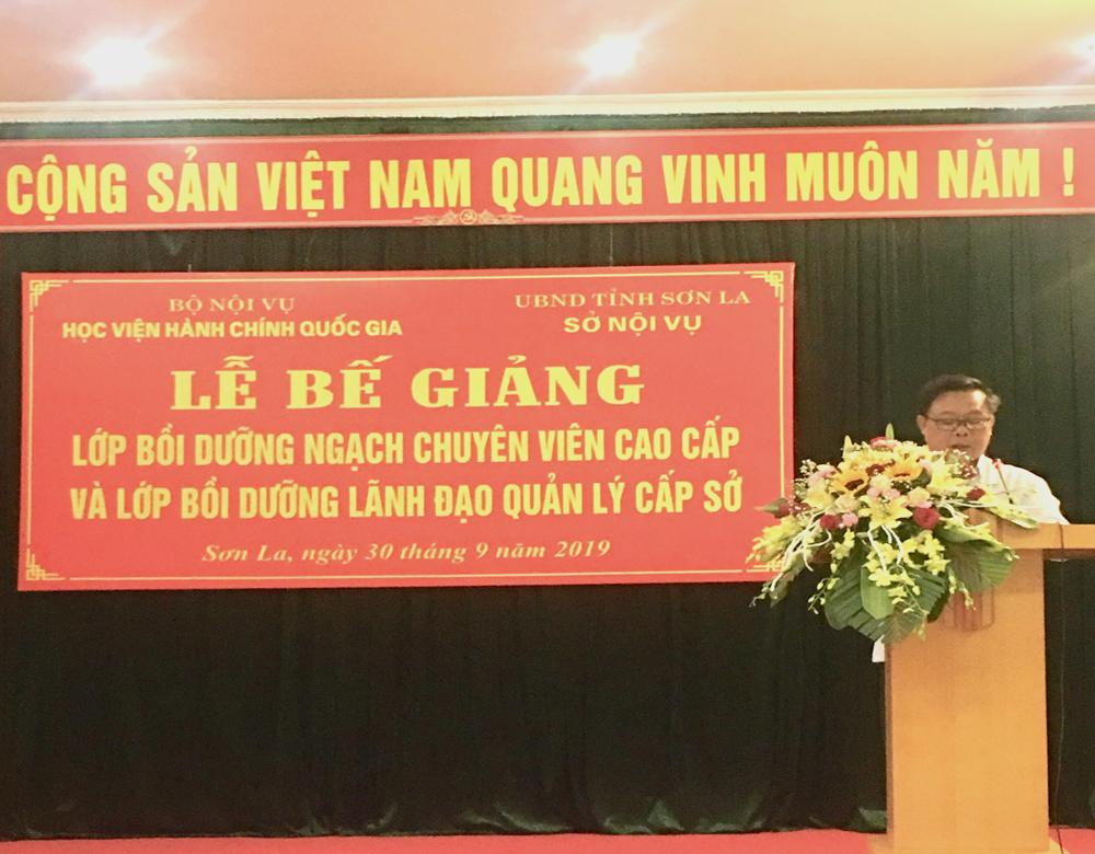 Đồng chí Phạm Văn Thủy, Tỉnh ủy viên, Phó Chủ tịch UBND tỉnh Sơn La phát biểu tại buổi lễ