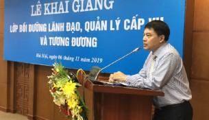 ThS. Tống Đăng Hưng, Phó Trưởng ban Quản lý bồi dưỡng - Học viện Hành chính Quốc gia phát biểu tại buổi lễ