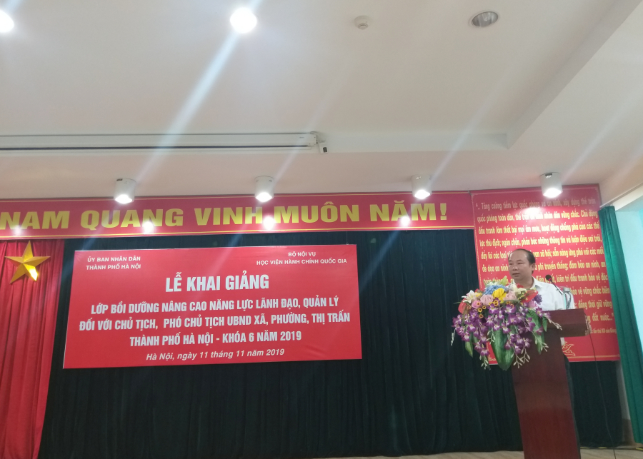 Đồng chí Nguyễn Đình Hoa - Phó Giám đốc Sở Nội vụ TP. Hà Nội phát biểu tại buổi Lễ