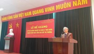 TS. Vũ Thanh Xuân - Phó Bí thư Đảng ủy, Phó Giám đốc Học viện Hành chính Quốc gia phát biểu tại buổi lễ