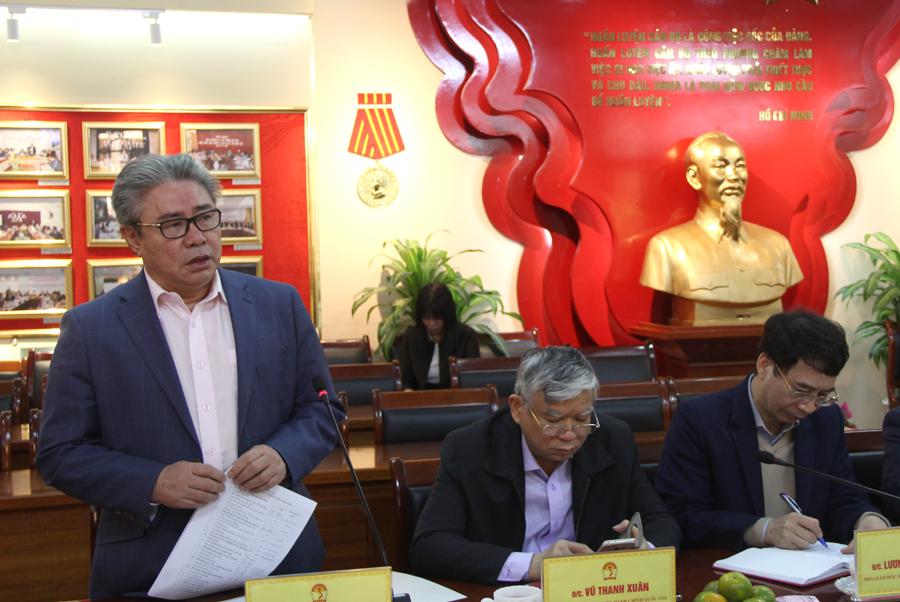 TS. Đặng Xuân Hoan - Giám đốc Học viện phát biểu ý kiến tại buổi làm việc