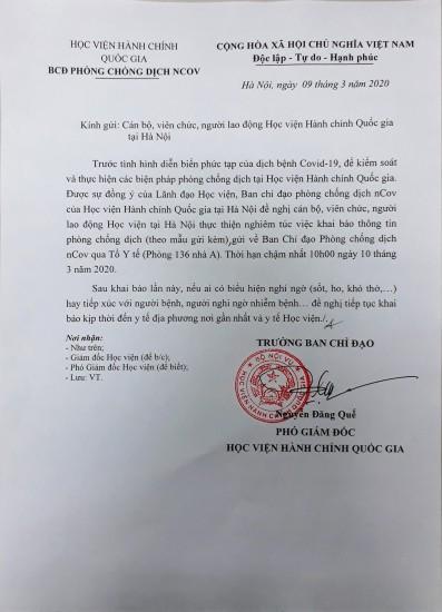 Thông báo của Ban chỉ đạo phòng chống dịch nCov