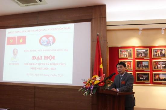 Đ/c Tống Đăng Hưng – Bí thư Chi bộ Ban Quản lý bồi dưỡng nhiệm kỳ 2017 - 2020 phát biểu khai mạc Đại hội