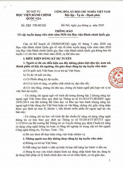 Thông báo số 530/TB-HCQG