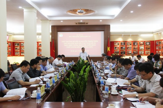 Thứ trưởng Bộ Nội vụ, Nguyễn Trọng Thừa phát biểu định hướng cuộc họp.