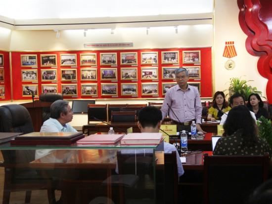 NGƯT.TS. Vũ Thanh Xuân, Phó Giám đốc Học viện phát biểu tai buổi họp.