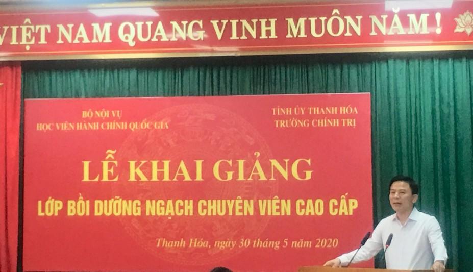 TS. Đỗ Trọng Hưng, Phó Bí thư Thường trực Tỉnh ủy- Trưởng Đoàn ĐBQH tỉnh Thanh Hóa phát biểu tại buổi lễ