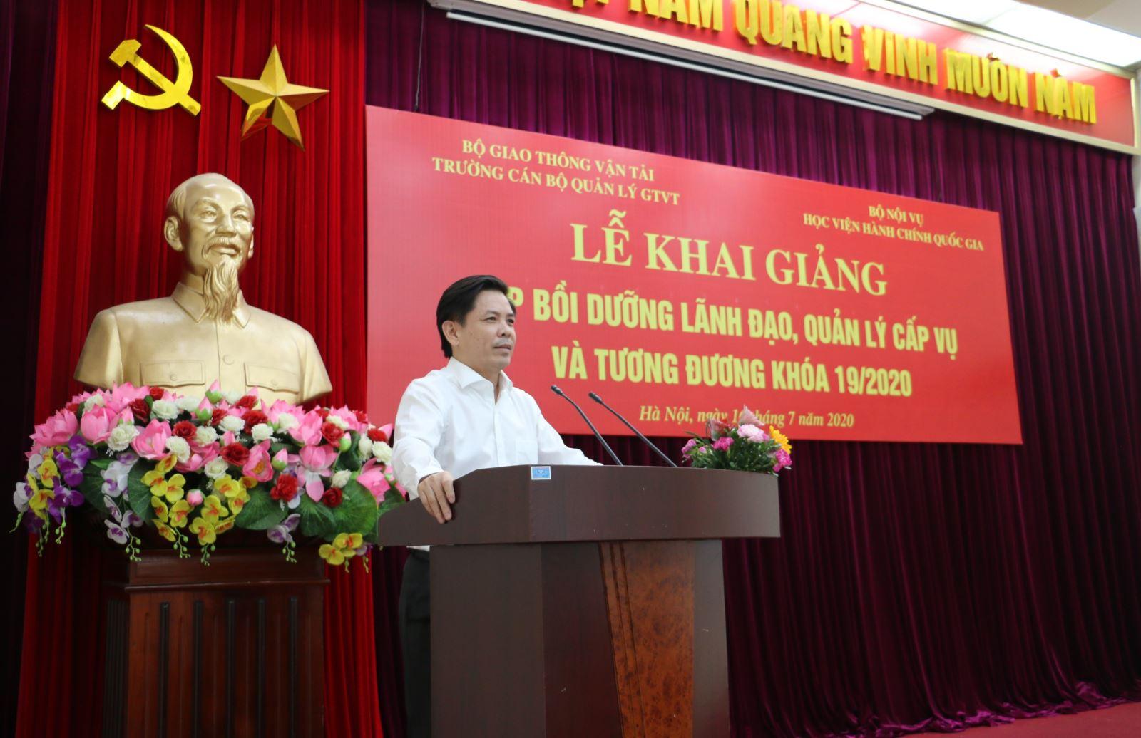 Bộ trưởng Nguyễn Văn Thể phát biểu tại lễ khai giảng lớp bồi dưỡng lãnh đạo, quản lý cấp vụ và tương đương khóa 19/2020
