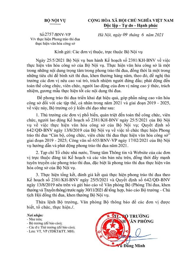 CV gui cac dvi thuc hien Van hoa cong so_001
