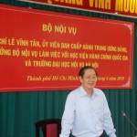 Đồng chí Lê Vĩnh Tân, Ủy viên Ban Chấp hành Trung ương Đảng, Bộ trưởng Bộ Nội vụ làm việc với Học viện Hành chính Quốc gia và Trường Đại học Nội vụ